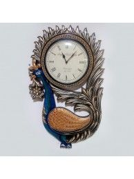 Peacock Wall Clock -Blue&Brown
