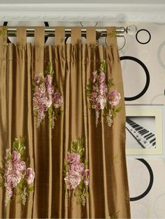 Brown Embroidered Floral 100% Silk Curtains Silk Curtains, Window Treatments, Brown, Floral, Home Decor, Silk Drapes, Decoration Home, Room Decor, Florals