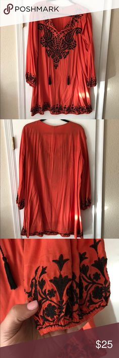 Orange boho tunic/dress Light and breezy boho tunic/dress, with black details. Light material, may have to wear a slip under it. Could be worn as a tunic or dress dependent on height. Since it's an English brand says it's an 18, but it's an American 14. Lightly worn. Alice & You Dresses Mini