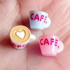 3D Coffee Cups Cabochons Charms (3pcs) (Pink, Blue, White) Kawaii Miniature Sweets Decoden Cell Phone Deco Earring Making FCAB002. $1.50, via Etsy.