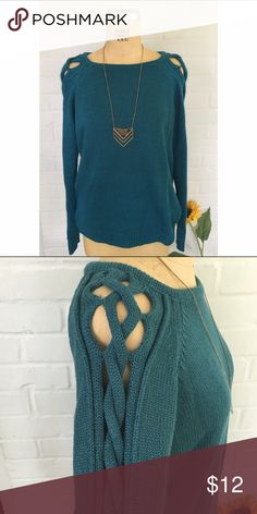 Knit sweater A teal sweater with a knit criss-cross detail on the sleeve Forever 21 Sweaters Crew & Scoop Necks
