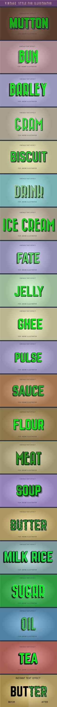 Buy Vintage Graphics Style For Illustrator by Fazle_Munim on GraphicRiver. This is a quality pack of 20 different vintage and retro graphic styles for Adobe Illustrator. Vintage Type, Vintage Looks, Text Effects, Adobe Illustrator, Graphic Design, Design Art, Typography, Retro, Illustration