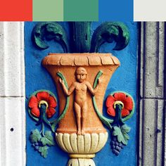 NEIGHBORHOOD COLORS: Architectural elements with bright color palettes. Enjoy!  #EE3f32 #97BE90 #46967B #1C72B9 #E7E8E2