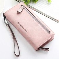 Wish | Women Retro Zipper Long Purse Card Holder Money Case Wallet Phone Bag With Strap Big Capacity For Under 5.5 Inch Lady Gift