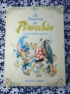 1959 FABBRI Carlo Collodi fairytale book Les aventures de Pinocchio illustrations by Maraja - French 50s vintage