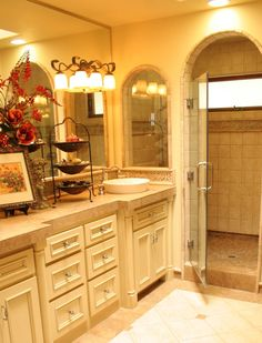 Master Bath, I like letting in extra light in the shower by adding that arched window above the vanity