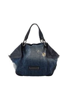 Liebeskind Atlas Distressed Denim Satchel Bag, Washed Blue