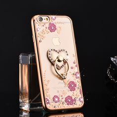 For for apple 6plus 5s phone case set for for iphone 6 finger ring mount silica gel protective case set female rhinestone | iPhone Covers Online