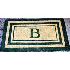 "Three Posts Straub Handmade Rectangle Monogram Doormat Size: 24"" x 39"", Letter: S"