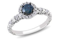 1/2 Carat Blue and White Diamond 14K White Gold Bridal Ring