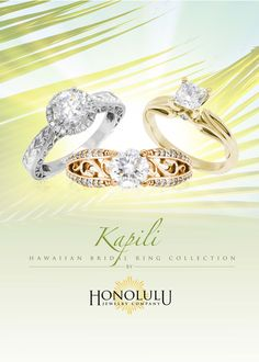 Custom design Bamboo Hawaiian Wedding Ring with Black Enamel