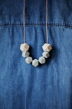Geometric Necklace / Geometric Jewelry / Wooden Necklace/ Grey Beige Wood…