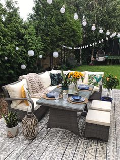 A Little Bit Of Garden Luxury With Argos Home* - Melanie Jade Design - A corner dining set on painted decking in the garden with plenty of plants lanterns outdoor lights - Rattan Garden Furniture, Outdoor Furniture Sets, Furniture Ideas, Backyard Furniture, Furniture Makeover, Furniture Design, Barbie Furniture, Furniture Layout, Pallet Furniture