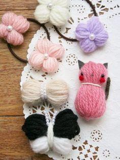 【作り方】簡単可愛い♡ 毛糸モチーフ4作品♪(リボン、お花、チョウチョ、動物)