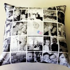 An amazingly designed black and white pillow with just a touch of color!