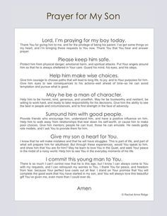 Prayers for Your Teen/Young Adult Kids - Free Printables