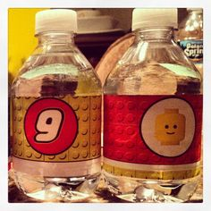 Lego party water bottles #lego party ideas #lego party decorations