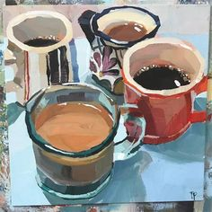 "Daily Paintworks - ""Coffee Mug Series - Original Fine Art for Sale - © Teddi Parker Painting Inspiration, Art Inspo, Art Sketches, Art Drawings, Illustration Art, Illustrations, Cafe Art, Guache, Wow Art"
