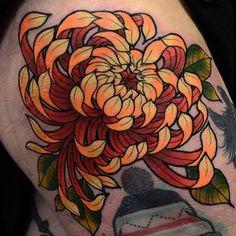 Stunning #chrysanthemum tattoo by Daryl Watson @darylwatsontattoo…