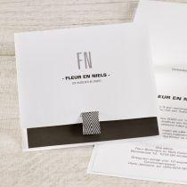 Trendy kaart met zwart-wit lintje #trouwkaart #wedding #zwart-wit #lint #trendy #origineel