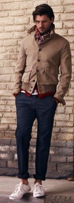 Khaki Jacket, Navy Chinos, Paisley Scarf, and White Jack Purcell Converse. Men's Early Fall Winter Fashion.