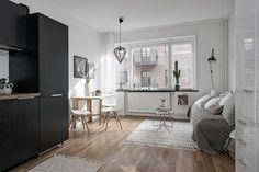 One-Room Apartment in Sweden Displays Function, Refinement - https://freshome.com/one-room-apartment/