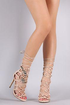 Vegan Suede Strappy Loop Lace Up Heels
