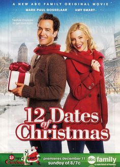 12 Dates of Christmas Amy Smart finds her Christmas Eve becoming a personal Groundhog Day as she keeps living it over and over again, which means repeating a blind date with Miles (Mark-Paul Gosselaar) Famous Christmas Movies, Hallmark Holiday Movies, Hallmark Weihnachtsfilme, Romantic Christmas Movies, Xmas Movies, Great Movies, Hallmark Channel, Watch Movies, Entertainment