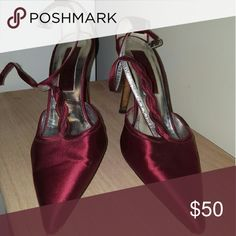 Christian Lacroix heels size 39 Deep red silk heels with no stains or marks on them.  The ends of the toes are slightly worn as seen in the picture. That does not distract from what a lovely pair of shoes these are. They stay on with an ankle clasp. Christian Lacroix Shoes Heels