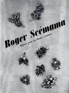 Roger Scémama (Jewels) 1953 Haute Couture Jewels Clips