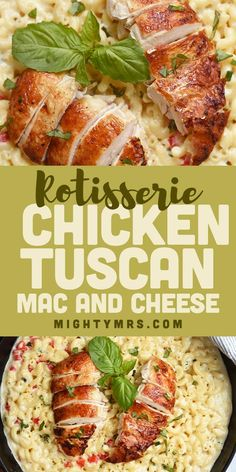 Easy Rotisserie Chicken Tuscan Mac and Cheese - A recipe that will remind you of Olive Garden yet you can make it at home in just 15 minutes! The creamy sauce is easy and tasty. Everyone who tries it says it's delish! A simple combination of flavors and s Recipes Using Rotisserie Chicken, Best Chicken Recipes, Turkey Recipes, Cheesy Recipes, Carrot Recipes, Tofu Recipes, Sausage Recipes, Steak Recipes, Potato Recipes