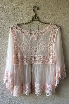 Rose Pink Lace and crochet cape sleeve Juliet Goddess blouse / Bohemian Angel