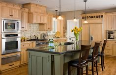 Maple Kitchen Cabinets Kitchen Traditional with Board and Batten Breakfast
