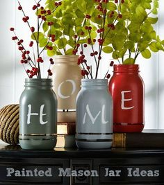 Painted Mason Jar Ideas - Best DIY Mason Jar Crafts. Create these crafts for decorative additions to your home, gifts, or for organizing! #crafts #DIY #idea