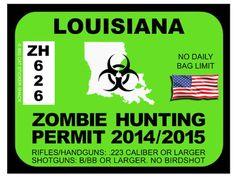 Louisiana Zombie Hunting Permit