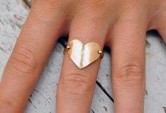 Heart Ring. 14kt gold filled. your size. $47.00, via Etsy.