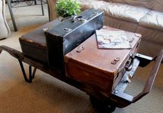 Repurposed Vintage Suitcases Coffee Table.