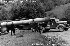 Luftwaffe fuel tanker and tractor. The tractor is a Ford Model 1940 manufactured in the Netherlands