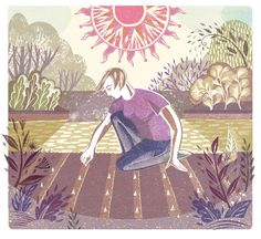 """Garlic planting"" by Sarah Young from the September issue of ""Gardens Illustrated"""