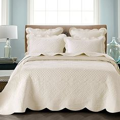 Sage Garden Luxury Pure Cotton Quilt By Calla Angel, Ivory, King Size Calla Angel http://www.amazon.com/dp/B00EXPQNVS/ref=cm_sw_r_pi_dp_DWcXub131XZ7Y