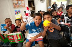 These boys received their Operation Christmas Child shoe box gifts at a church in Panama through an outreach program that works to prevent at-risk youth from joining gangs.