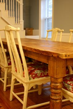 """Our """"new"""" old farm table...it didn't have chairs with it, so I bought 6 old chairs and had them distressed and recovered.  I love how it turned out!"""