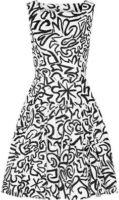 Oscar de la Renta Pleated printed cotton and silk-blend dress
