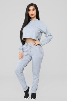 Latest And Greatest French Terry Crop Hoodie – Heather Gray – fashion nova dress Cute Lazy Outfits, Sporty Outfits, Teen Fashion Outfits, Curvy Outfits, Classy Outfits, Stylish Outfits, Girl Outfits, Beautiful Outfits, Trendy Fashion