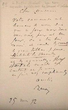 Pierre-Auguste Renoir - Letter from Renoir to Berthe Morisot (1841-95) regarding her first exhibition
