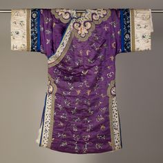 Purple silk embroidered robe, lined with ermine, Chinese, 1875-1899. KSUM 1983.1.1934