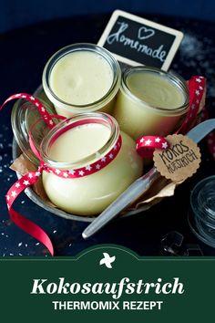 Thermomix ® Rezepte für Kokos-Fans gibt's im Rezept-Portal Cookidoo. Toll zum Verschenken: Rezept für Kokosaufstrich mit Kokosraspeln, weißer Schokolade und Kokosmilch. Yummi!