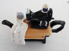 Vintage Sewing Machine Ceramic Porcelain Teapot or Creamer Tea Pot Giftco Inc.