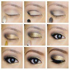 Golden Glitter Eye Makeup Tutorials for Black Eyes