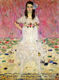 Portrait of Mada Primavesi by Gustav Klimt. I love the defiant pose, so unlike other portraits of young girls at the time.